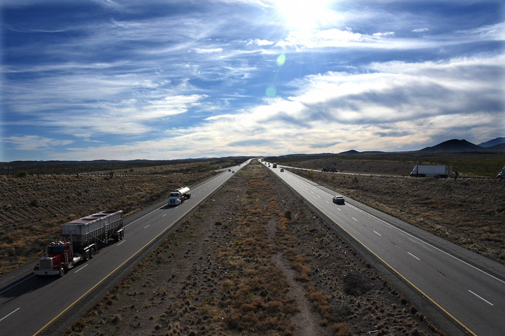 Motor vehicles are seen on Interstate Highway 10 near Benson, Arizona, March 2019.