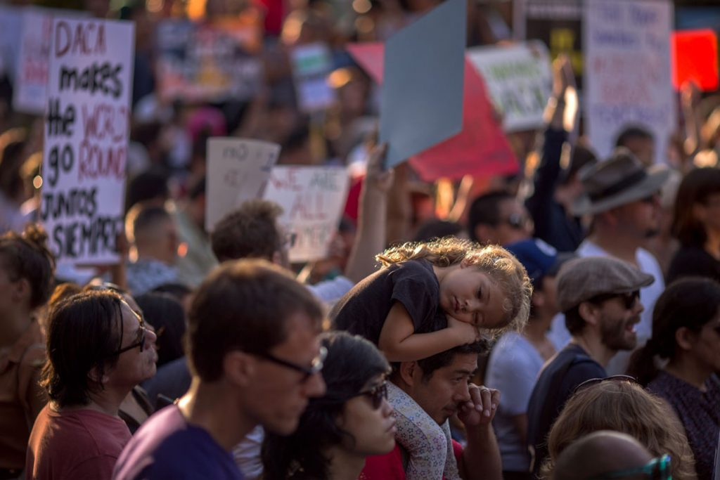 Immigrants and supporters rally in support of DACA on September 5, 2017, in Los Angeles.