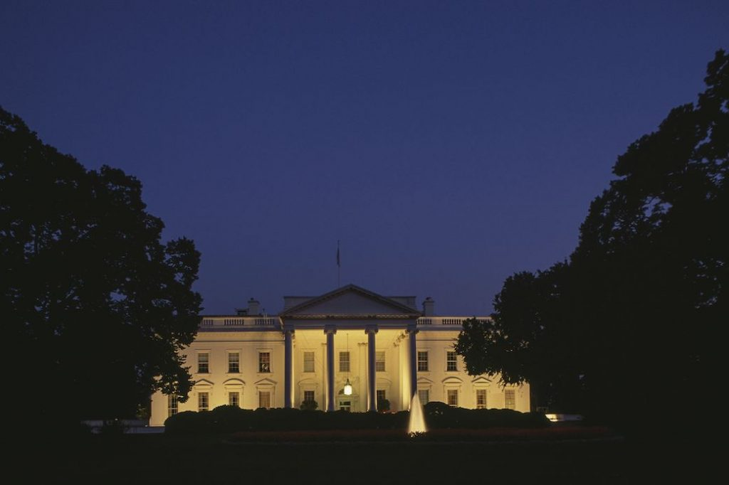 Night view of the south facade of The White House, September 2018.