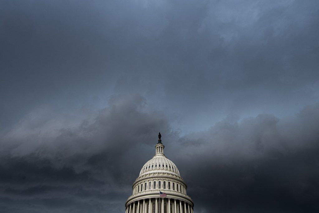 A thunderstorm passes over the U.S. Capitol building on July 11, 2019, in Washington, D.C.