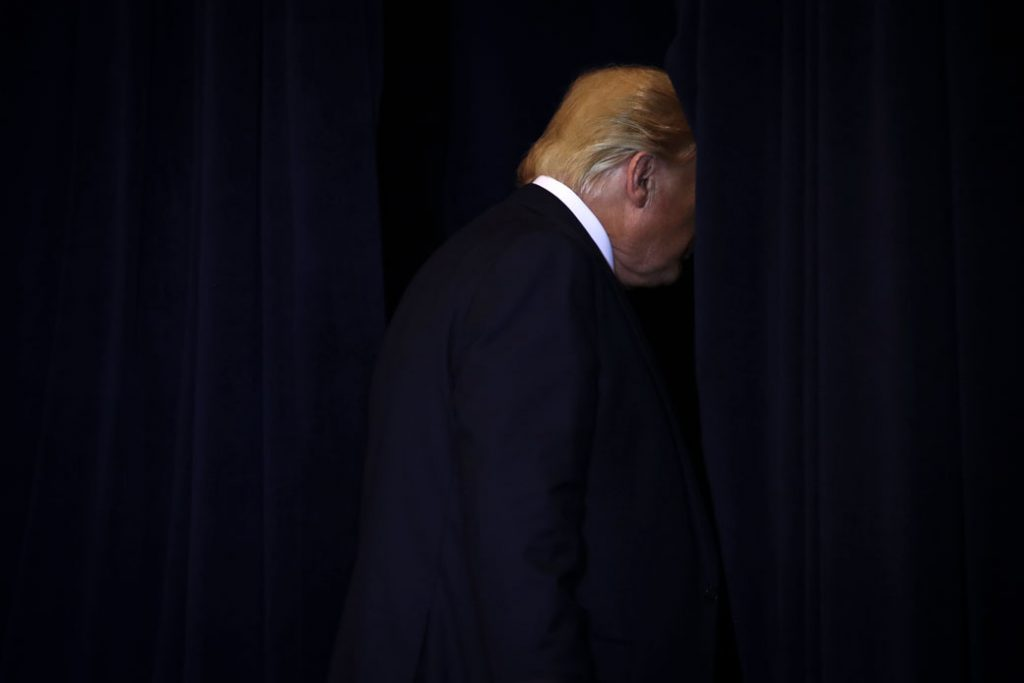 President Donald Trump exits a press conference, September 2019.