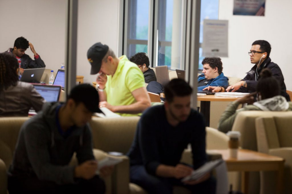 Students at a community college in Annandale, Virginia, study in a quiet area, April 2014.