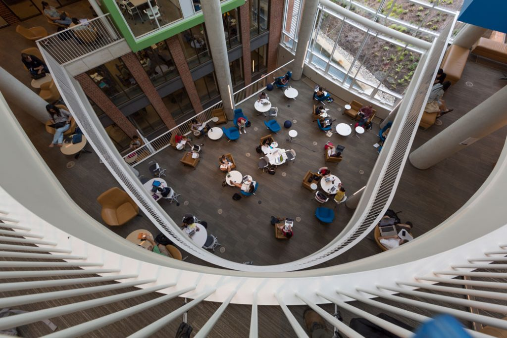 College students use the learning commons at a private university in Baltimore, October 2012.