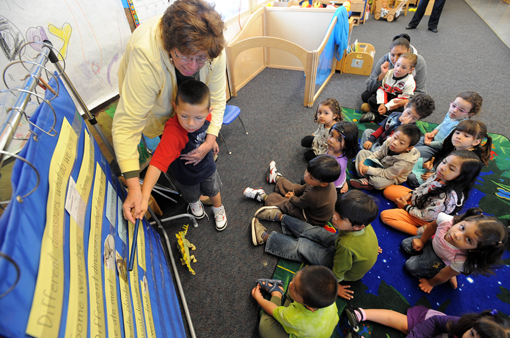 Preschool students in Redondo Beach, California, take part in classroom activities, April 2010.