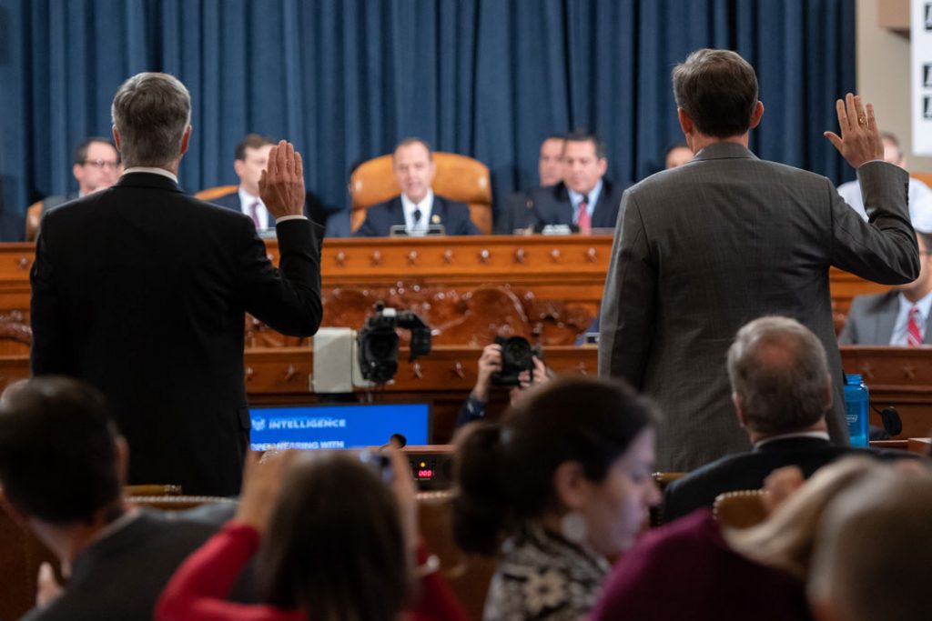 Top U.S. diplomat in Ukraine William Taylor and Deputy Assistant Secretary for European and Eurasian Affairs George Kent are sworn in prior to testifying before the U.S. House Intelligence Committee, Washington, D.C., November 13, 2019.