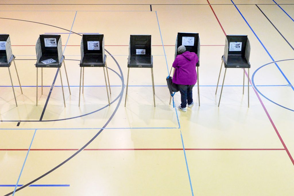 A woman votes on in Durham, North Carolina on November 8, 2016.