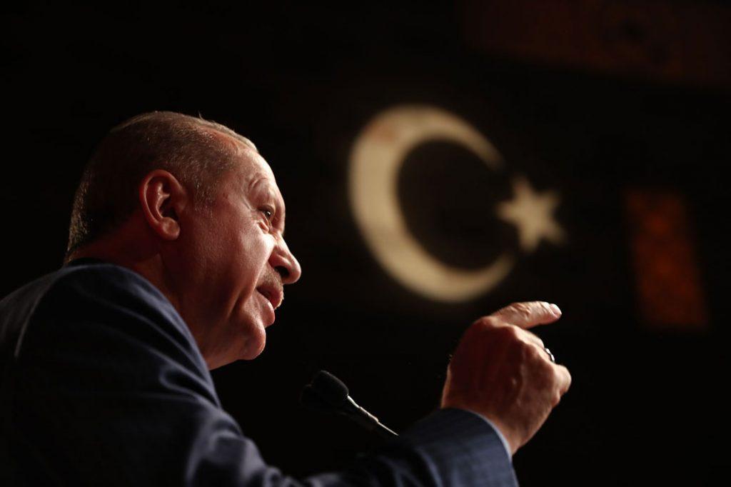 President of Turkey Recep Tayyip Erdoğan addresses an audience in New York in September 2018.