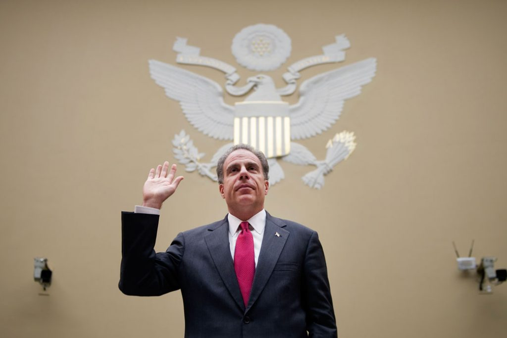 Justice Department Inspector General Michael Horowitz testifies before a House Oversight and Reform Committee hearing on a 2012 OIG report in Washington.