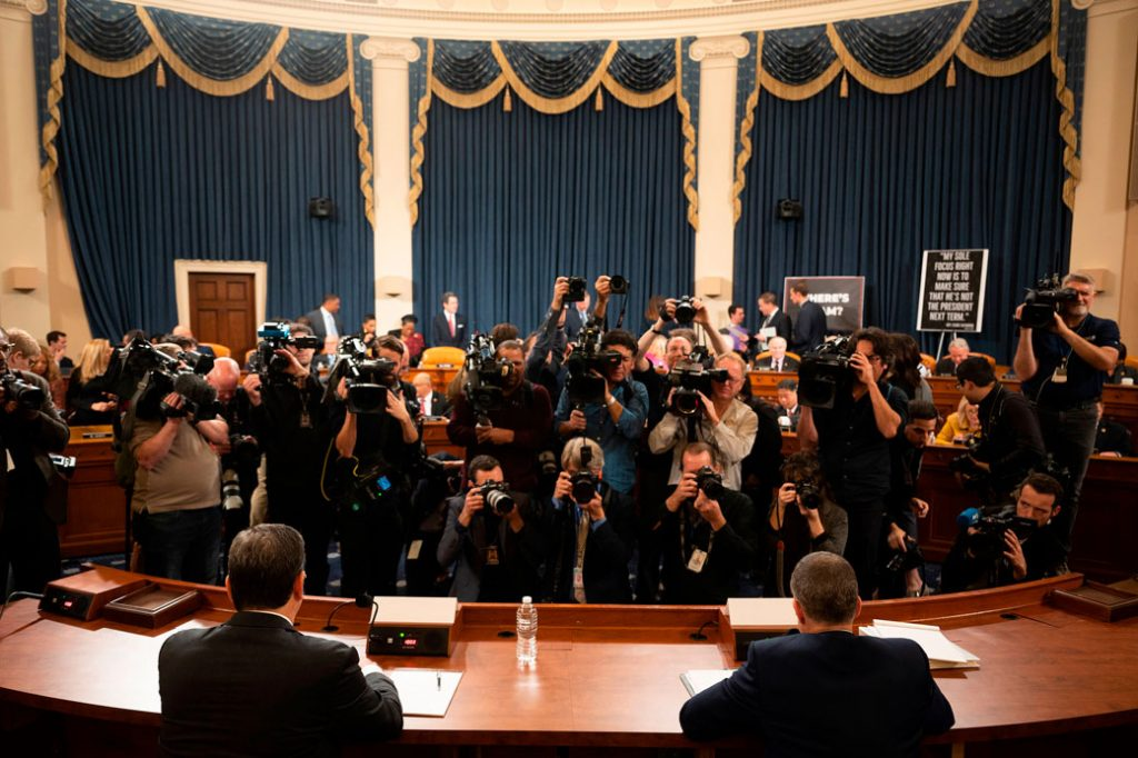 Members of the media gather before the U.S. House Judiciary Hearing on Capitol Hill, Washington, D.C., December 9, 2019.
