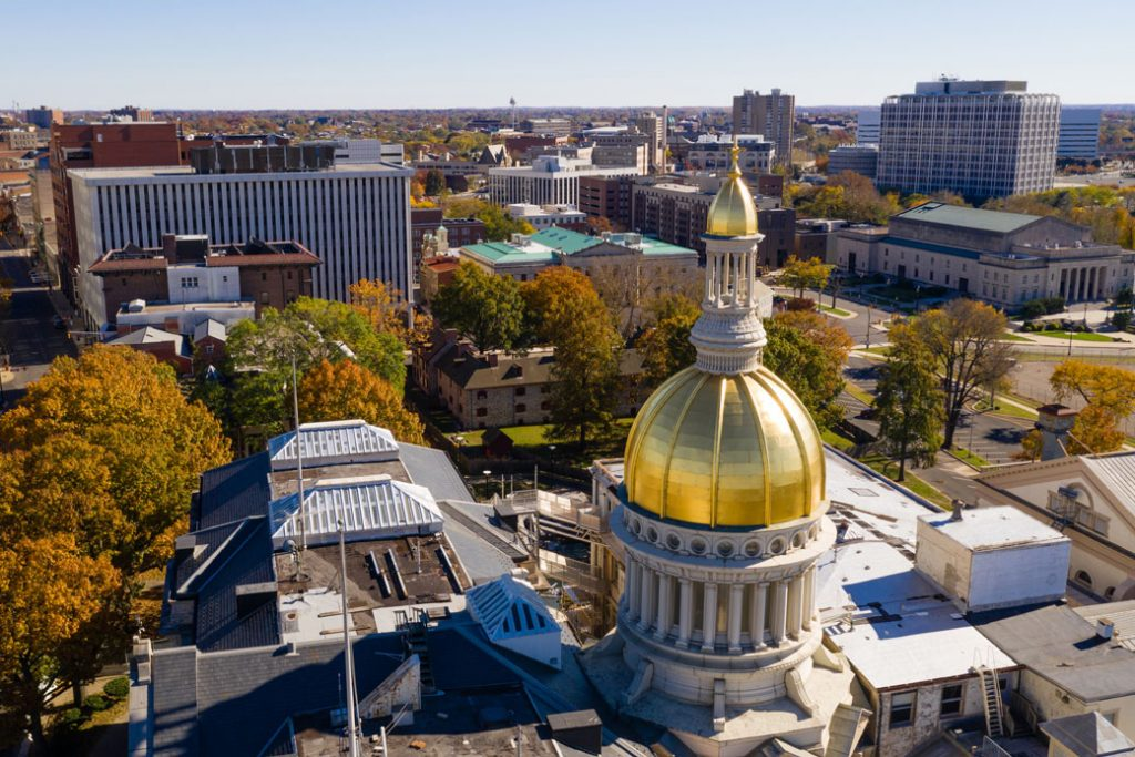 The New Jersey Capitol dome reflects sunlight in downtown Trenton.