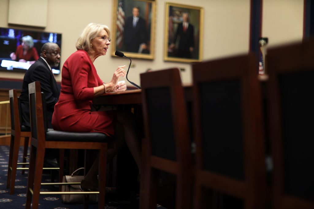 U.S. Secretary of Education Betsy DeVos speaks during a hearing before the House Committee on Education and Labor in Washington, D.C., on December 12, 2019.