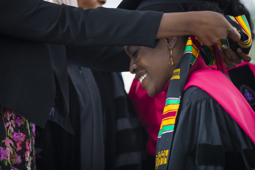 Law student graduate Esther Agbaje takes part in the Black Commencement at Harvard University on May 23, 2017.