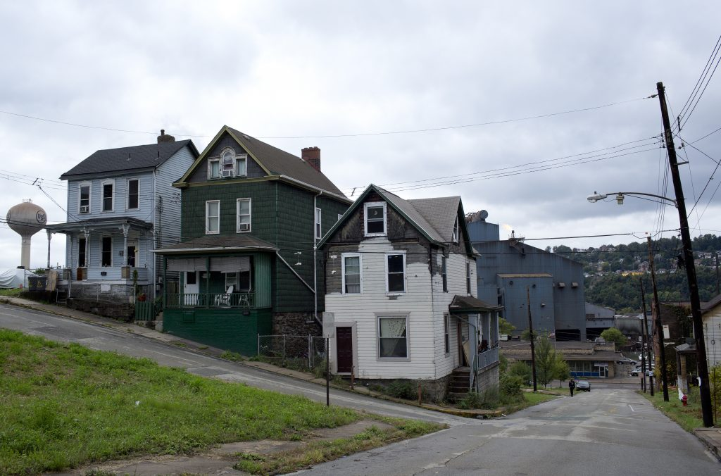 A street in the once-thriving town of Braddock, Pennsylvania, which faced economic decline following the closure of its steal mills, on October 13, 2016.