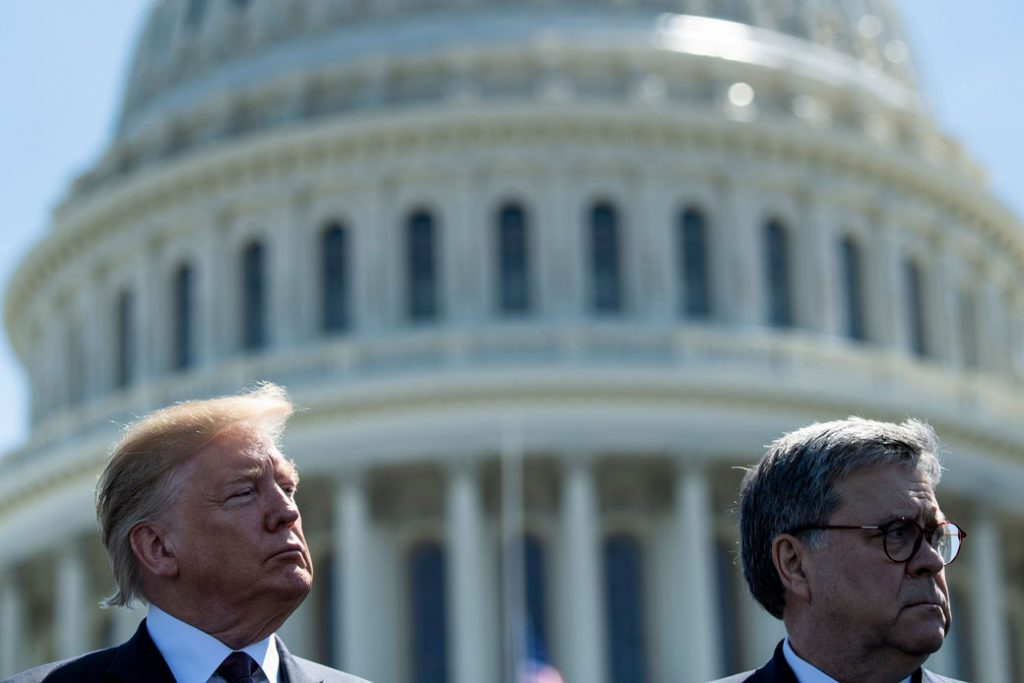President Donald Trump and U.S. Attorney General William Barr U.S. Capitol in Washington, May 2019.