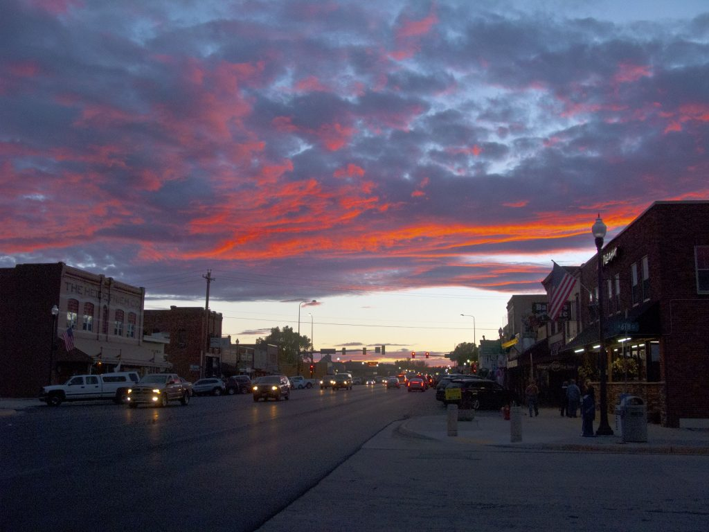 Sunset on Custer Street in South Dakota, September 2016.