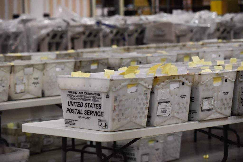 Trays of election ballots are seen at a warehouse in West Palm Beach, Florida, November 2018.