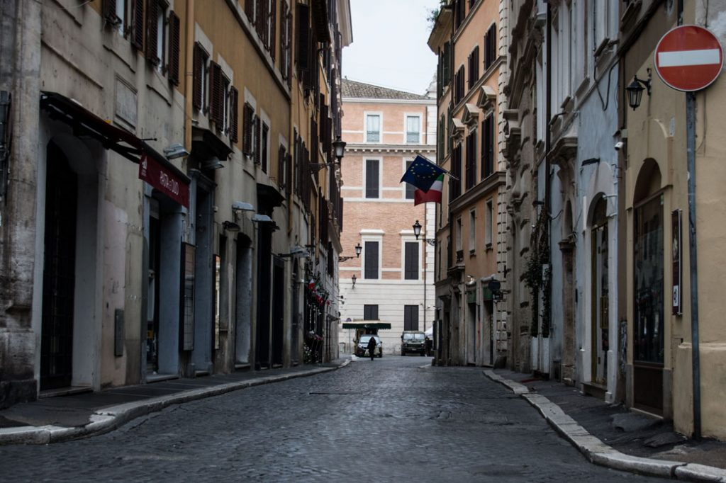 Amid the coronavirus outbreak, commercial activities are closed as part of a nationwide lockdown in Rome on March 14, 2020.