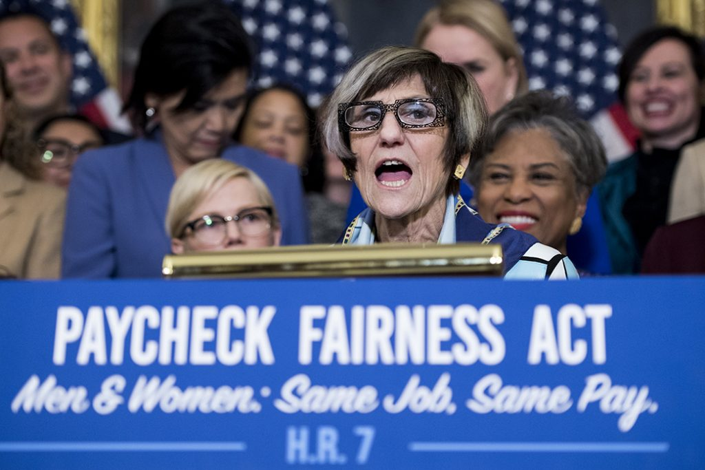 Rep. Rosa DeLauro (D-CT) speaks during a press conference marking Equal Pay Day and celebrating the House passage of the Paycheck Fairness Act, April 2, 2019.
