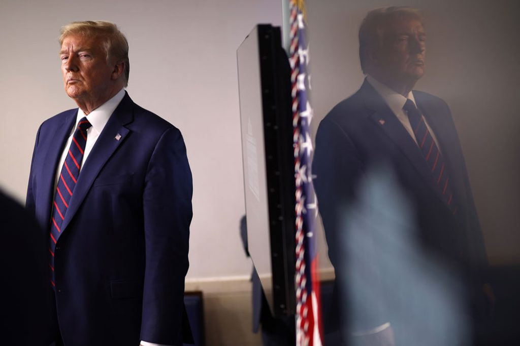 President Donald Trump stands in the press briefing room on April 2, 2020, in Washington, D.C.