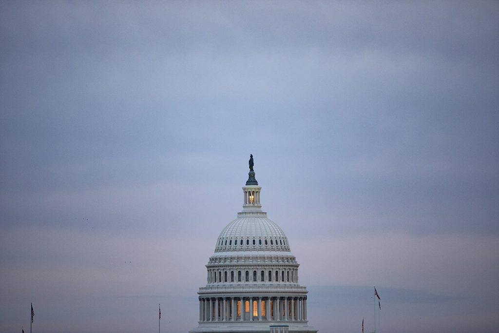 The sun sets over the U.S. Capitol in Washington, D.C., January 2020.