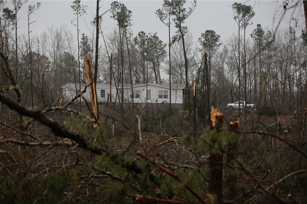 People work to clear fallen trees and debris after a tornado in Beauregard, Alabama, March 2019.