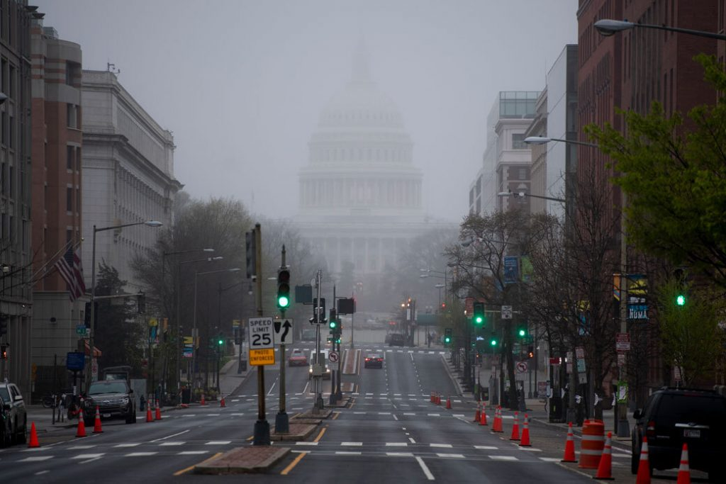 Fog blankets the U.S. Capitol dome as seen from North Capitol Street, March 2020.