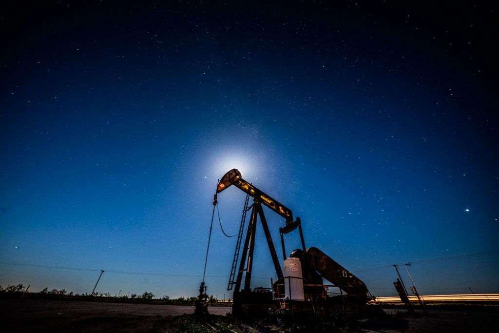 A pump extracts oil from oil wells in the Permian Basin in Midland, Texas, on May 5, 2018.