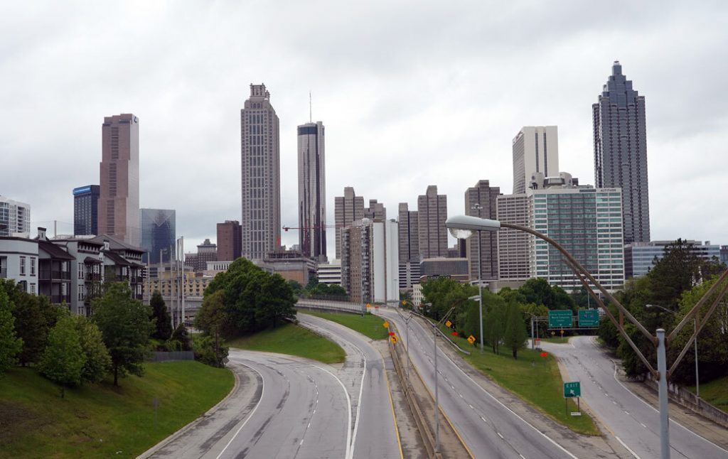 A deserted highway leading to the city of Atlanta, April 2020 .