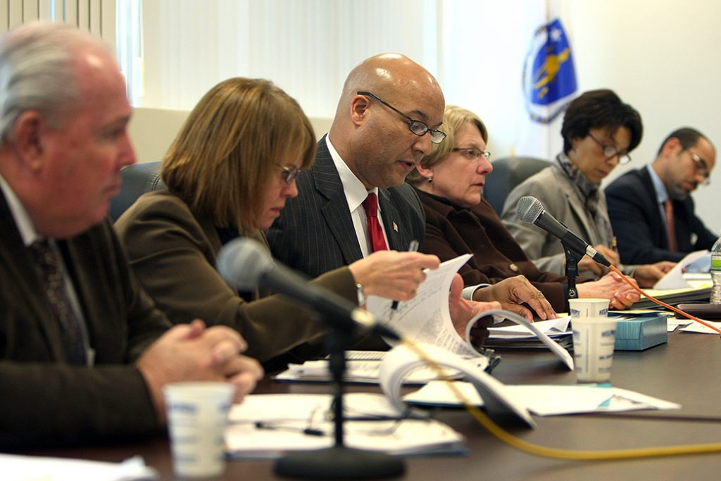Pictured is a day of hearings at the Massachusetts Parole Board, which recommends clemency to the governor.
