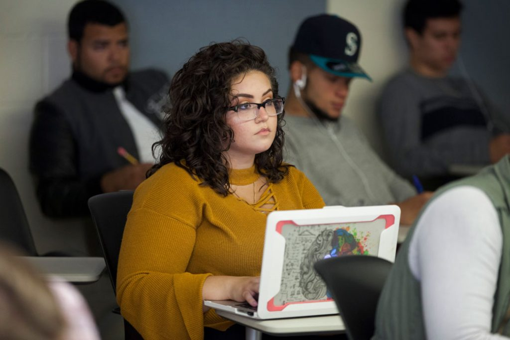 A DACA recipient and student attends criminology class in October 2017, in Willimantic, Connecticut.