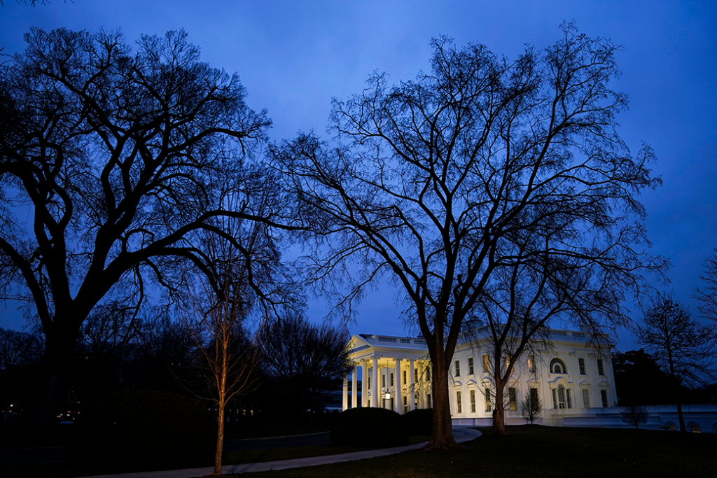 The White House stands at dusk, February 2020.