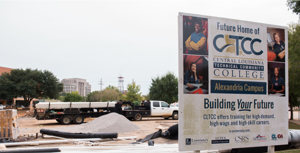 A parking lot is under construction at the new downtown Alexandria campus of Central Louisiana Technical Community College.