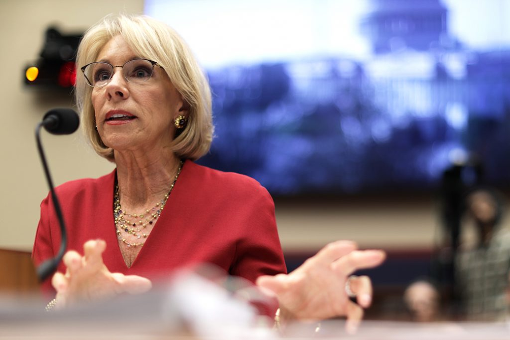 U.S. Secretary of Education Betsy DeVos testifies during a hearing before the House Education and Labor Committee, December 12, 2019, on Capitol Hill in Washington, D.C.