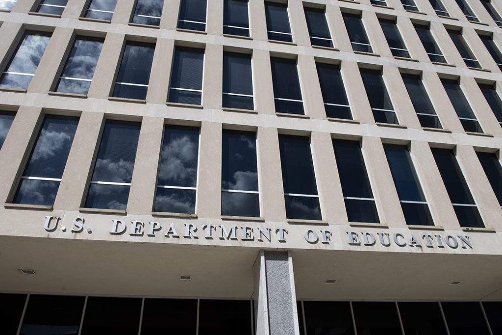 The U.S. Department of Education building is pictured in Washington on April 2, 2020.