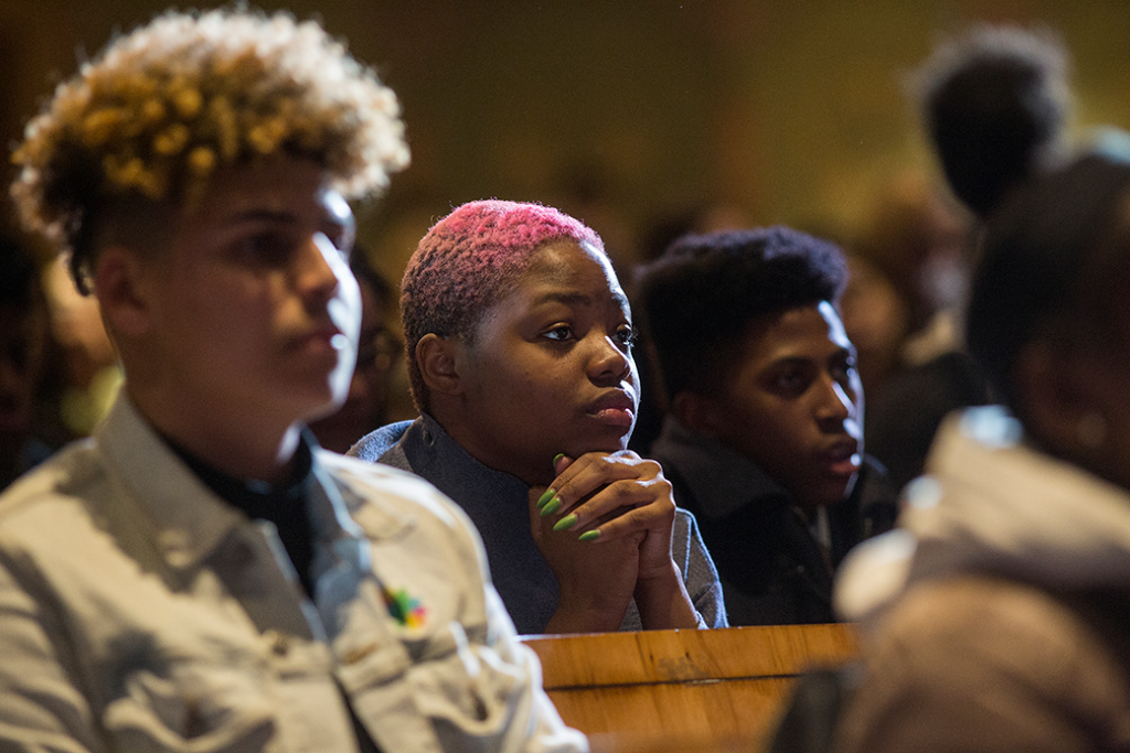 Student activists from New York City public schools—which remain some of the most segregated in the nation—meet with Board of Education officials demanding an end to all metal detectors, a more equitable division of resources within the school system, and reforms to the admissions process, January 2020.