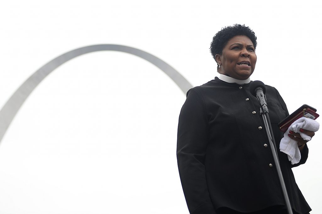 The Rev. Traci Blackmon delivers remarks during a protest rally over restrictive abortion laws on May 21, 2019, in St Louis.