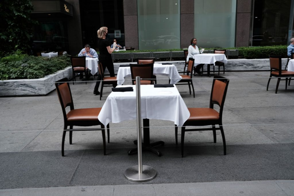 A table stands empty at a restaurant in New York City, August 31, 2020.