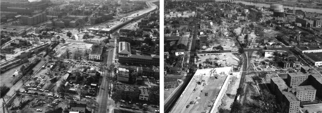 Construction of the Southeast/Southwest Freeway, 1968. Photos courtesy of the District Department of Transportation