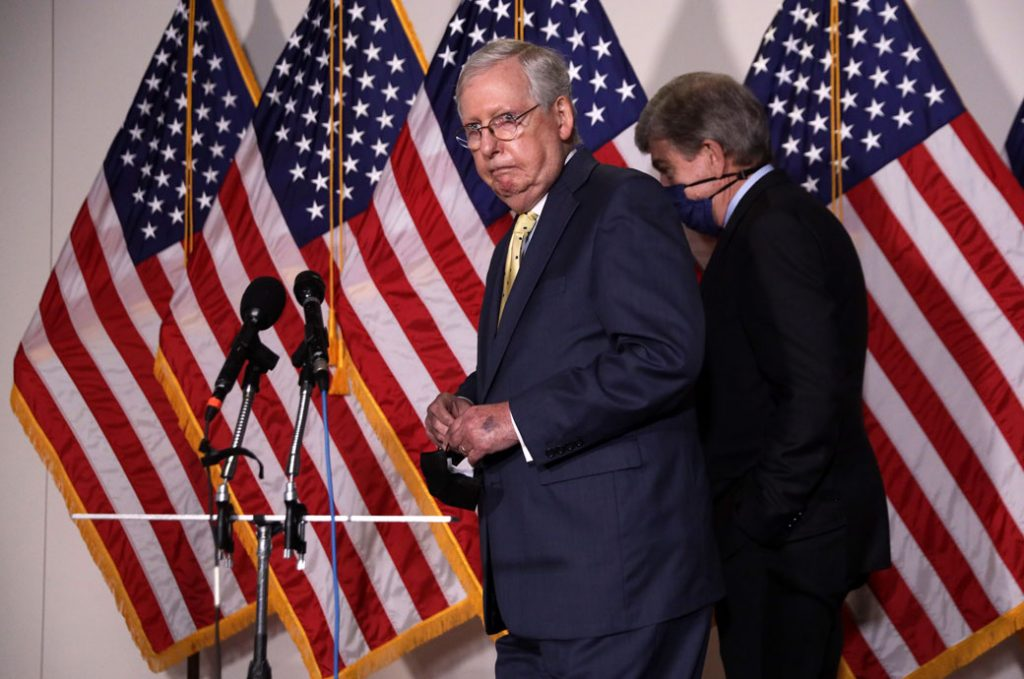 U.S. Senate Majority Leader Mitch McConnell (R-KY) approaches the microphones, September 2020.