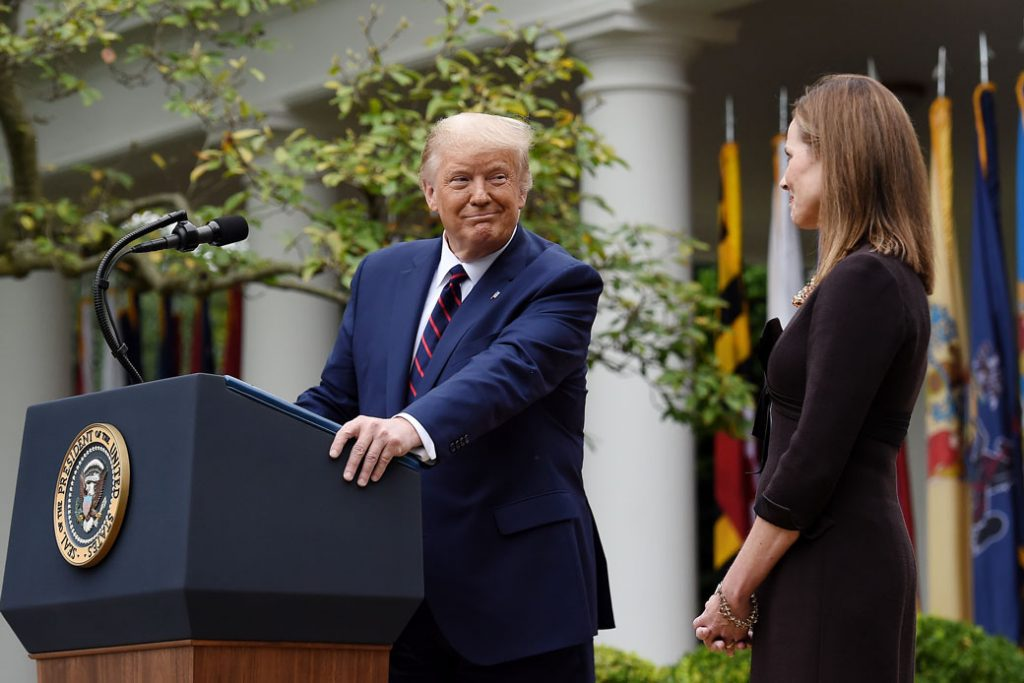 Judge Amy Coney Barrett speaks after being nominated to the U.S. Supreme Court by President Donald Trump in the Rose Garden of the White House in Washington, D.C., on September 26, 2020.