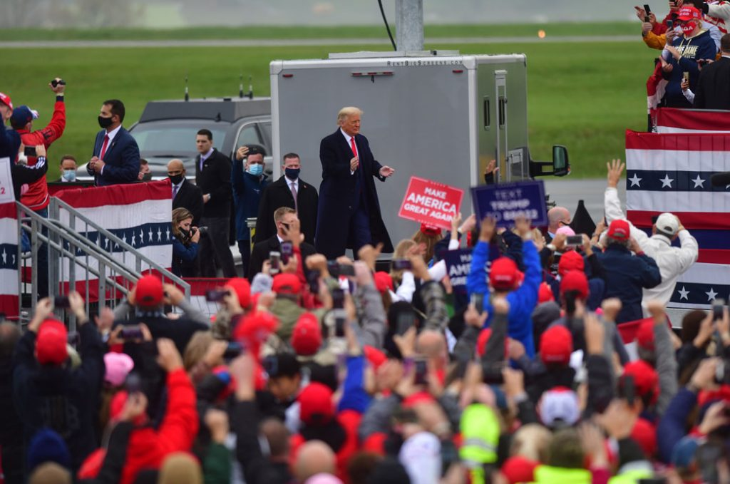 President Donald Trump arrives for a rally in Pennsylvania, October 2020.