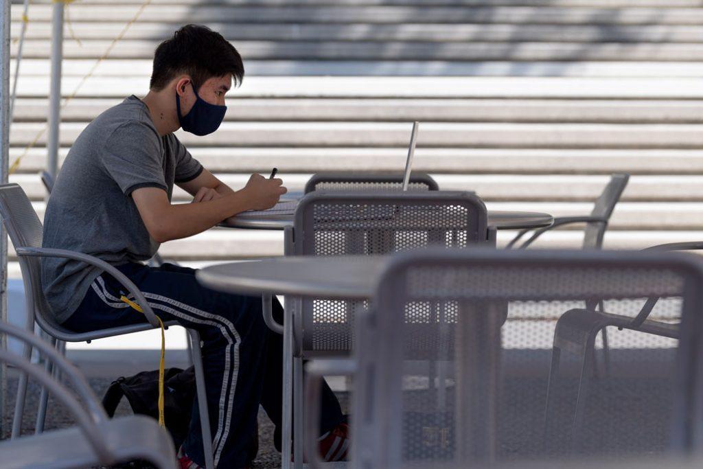 A college student studies in Irvine, California, October 2020.