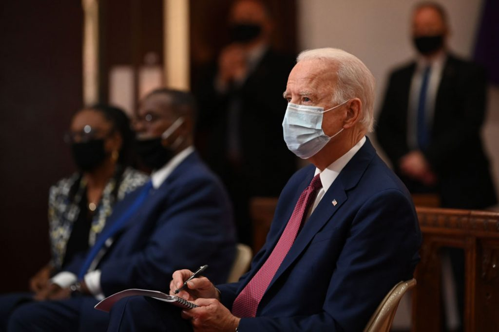 Former Vice President Joe Biden meets with religious leaders at Bethel AME Church in Wilmington, Delaware, on June 1, 2020.