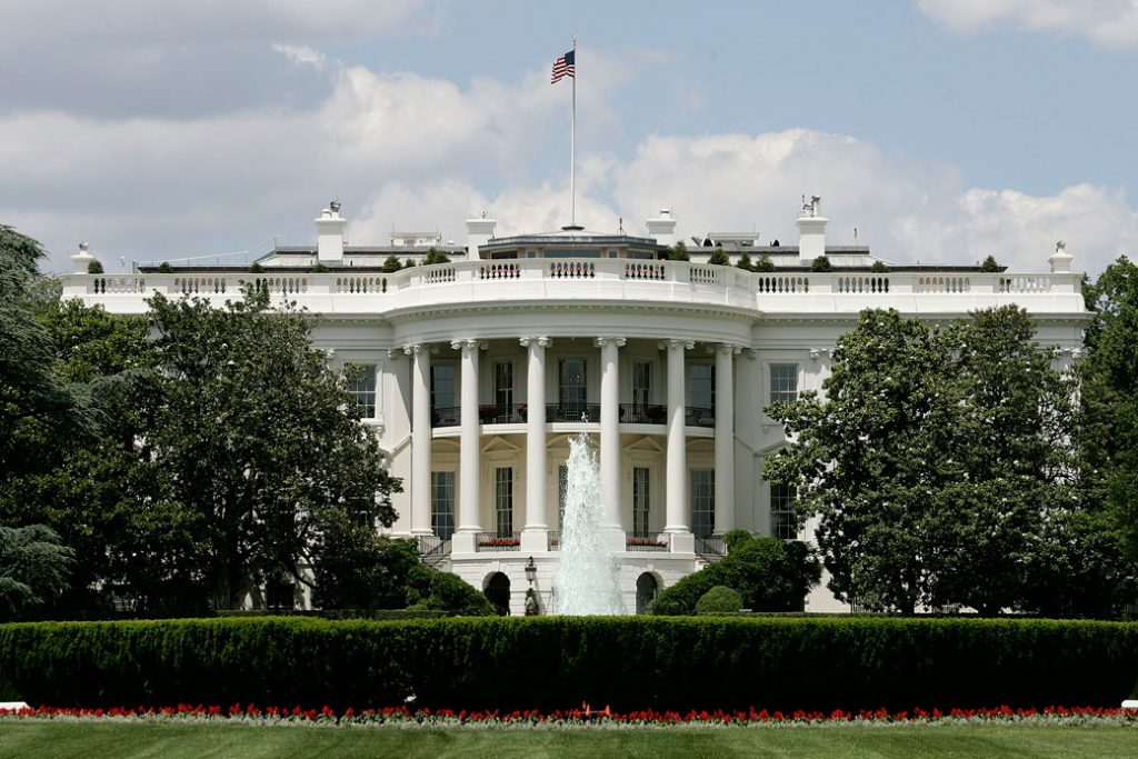 The White House is seen in May 2005, Washington, D.C.
