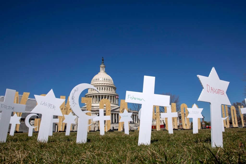 Gun violence prevention artwork is displayed on U.S. Capitol grounds in Washington, D.C, March 2019.
