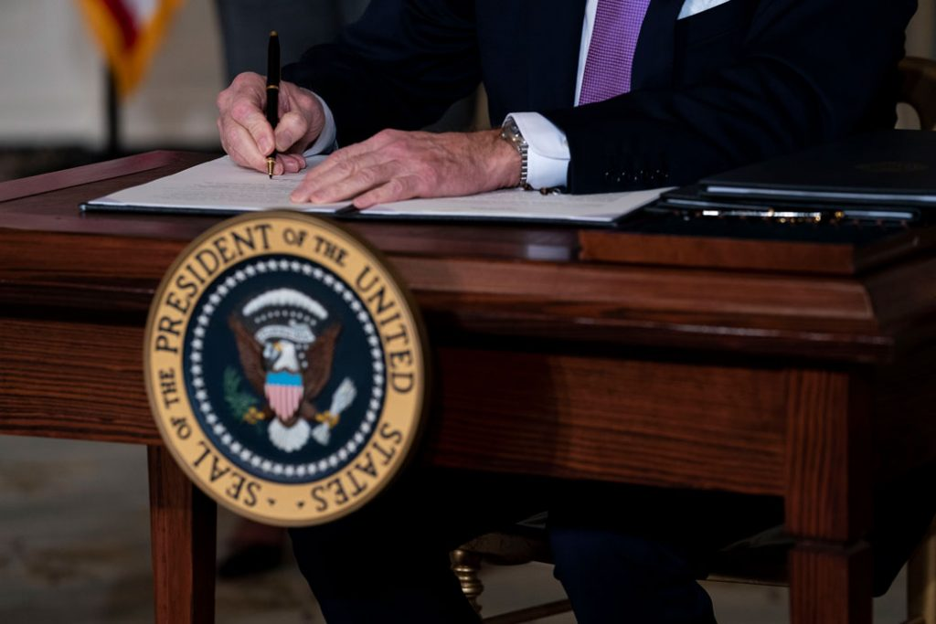President Joe Biden signs executives orders related to his racial equity agenda on January 26, 2021, Washington, D.C.