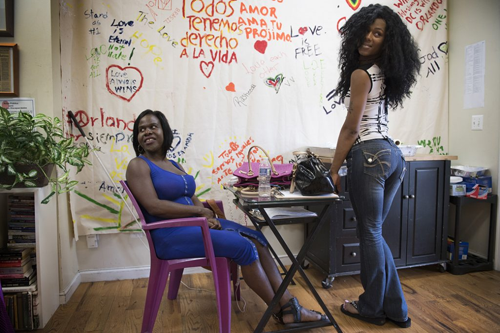 Transgender women at an outreach center in Washington in 2016.