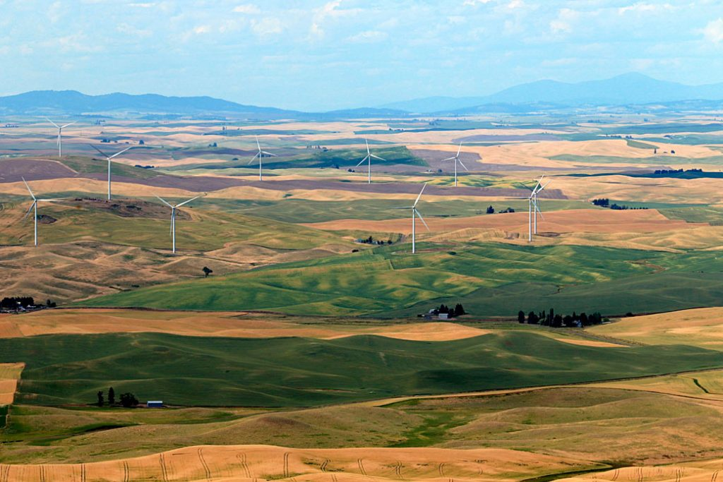A wind farm in southeastern Washington state is viewed from the summit of nearby Steptoe Butte in Whitman County, July 2020.