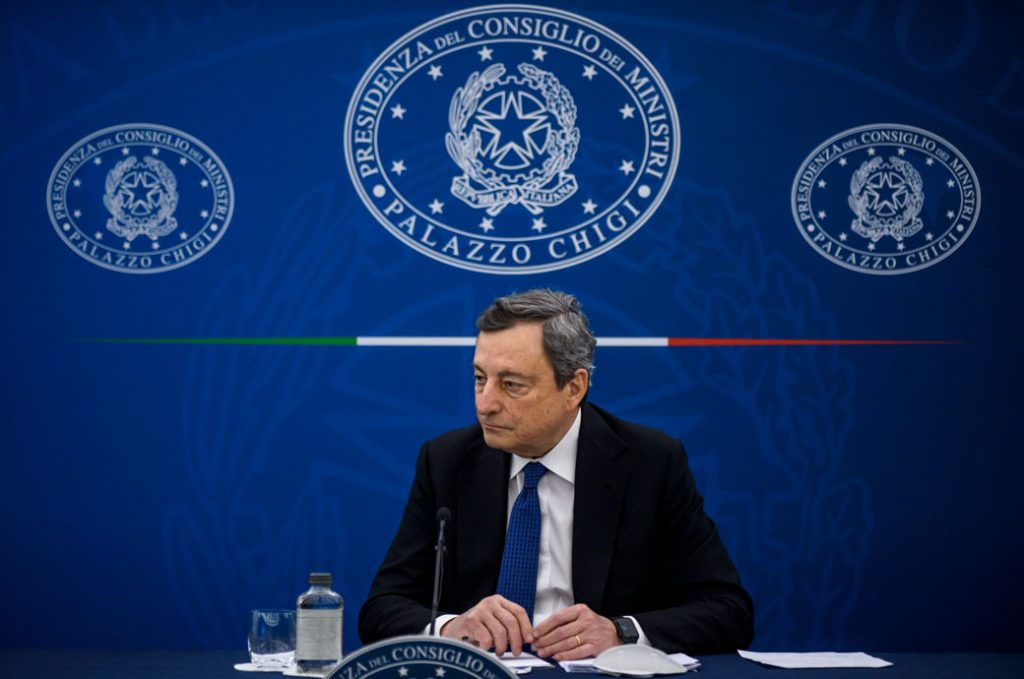 Italian Prime Minister Mario Draghi holds a press conference, March 2021.