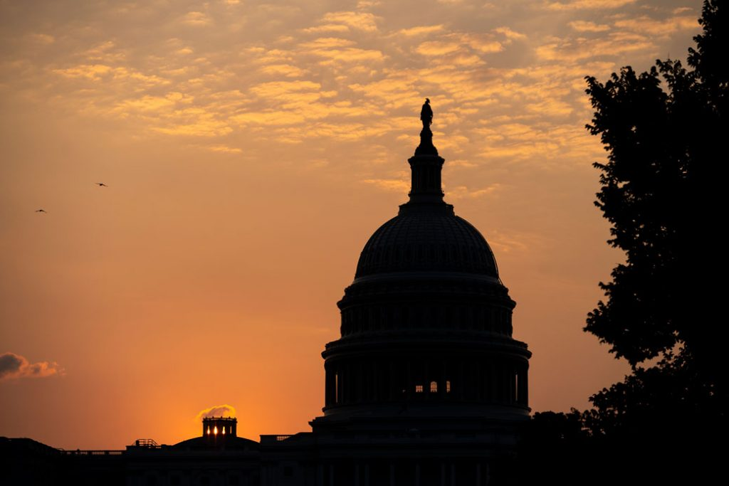 The U.S. Capitol is seen at sunrise in August 2020.
